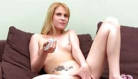 Blonde nude whore is licking the large donger