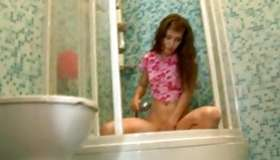 Teen babe taking shower and gets hammered doggy style vulgar