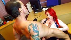 Evil ginger-haired whore is screwed indecently