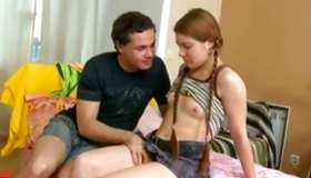 Brown-haired merry ex girlfriend is having reward with her somebody getting drilled hard