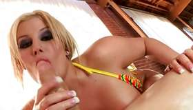 Naughty oily skank is riding on energetic dick