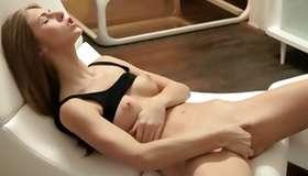 Light haired maddened slut masturbating her snatch