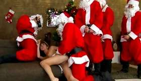 Very bad hotty is team-fucked by graceful provoking dog santas xxx