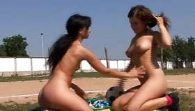 Improper beauties kiss and fuck every other with magic wand and fingers