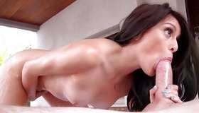 Trendy deepthroat lady is massaged and team-fucked by her bf