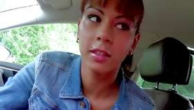 Perfectly hot sexy lass posing spicy in the car