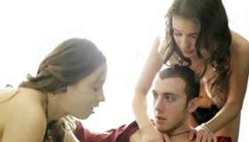 Cute threesome where porn star are satisfying a horny sir