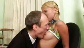 Natural blonde stylish skank is giving a deepthroat a massive tremendous pecker of old guy