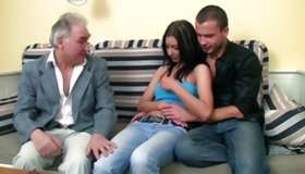 Look at my miss porn where salacious girlie having act of love with old man